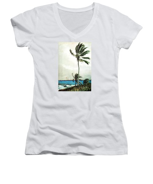 Palm Tree Nassau Women's V-Neck (Athletic Fit)