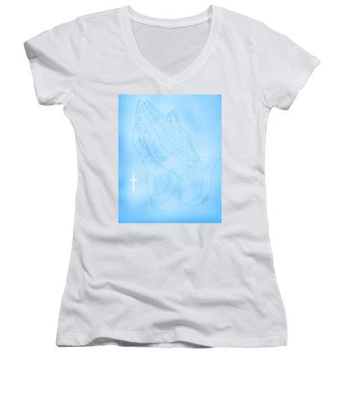 Praying Hands  Women's V-Neck T-Shirt