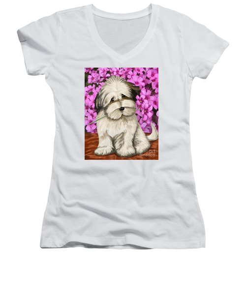 Women's V-Neck T-Shirt (Junior Cut) featuring the painting Puppy In The Flowers by Tim Gilliland