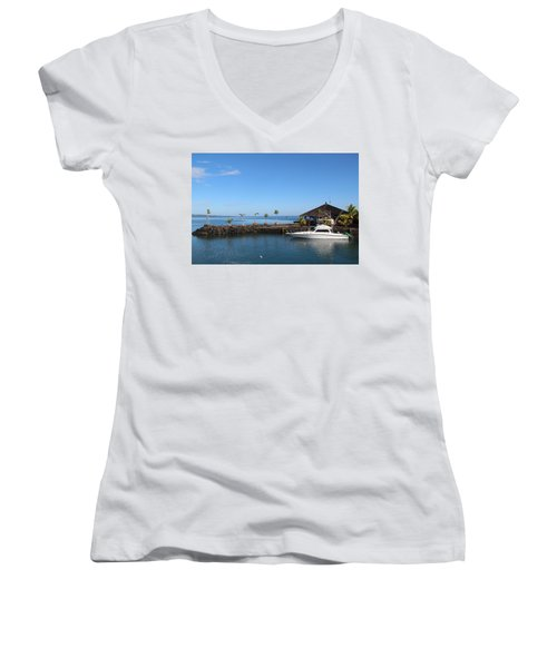 Women's V-Neck T-Shirt (Junior Cut) featuring the photograph Quiet Bay by Sergey Lukashin