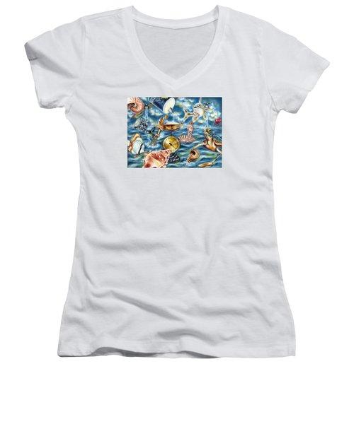 Women's V-Neck T-Shirt (Junior Cut) featuring the painting Recipe Of Ocean by Hiroko Sakai