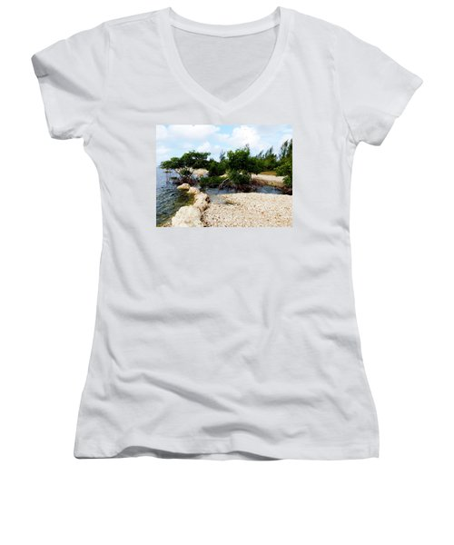 Women's V-Neck T-Shirt (Junior Cut) featuring the photograph Reclamation 6 by Amar Sheow
