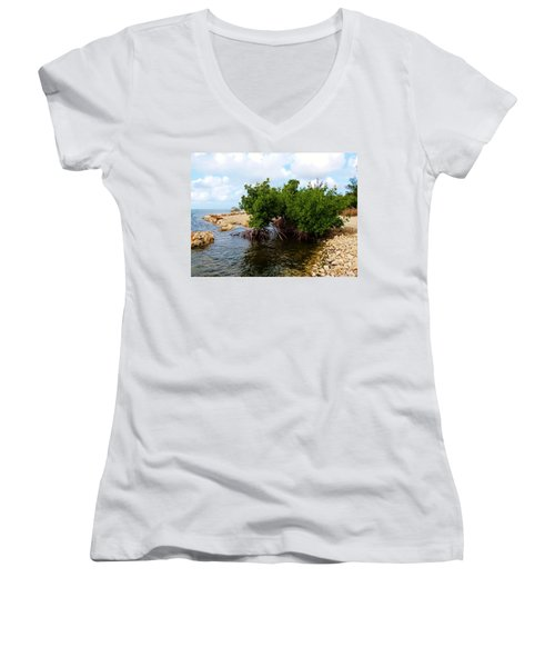 Women's V-Neck T-Shirt (Junior Cut) featuring the photograph Reclamation 7 by Amar Sheow