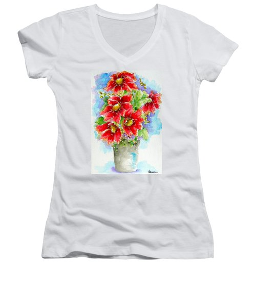 Women's V-Neck T-Shirt (Junior Cut) featuring the painting Red Flowers by Patrice Torrillo