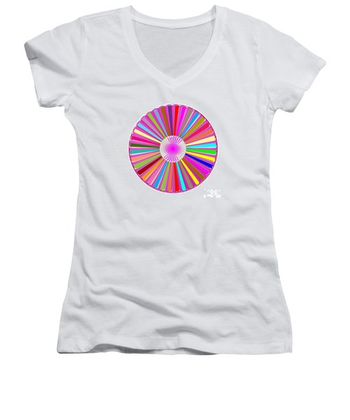 Colorful Signature Art Chakra Round Mandala By Navinjoshi At Fineartamerica.com Rare Fineart Images  Women's V-Neck T-Shirt (Junior Cut) by Navin Joshi