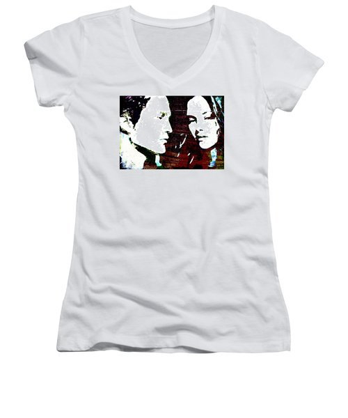 Women's V-Neck T-Shirt (Junior Cut) featuring the mixed media Robsten by Svelby Art