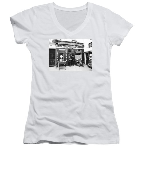 Shakespeare And Company Bookstore In Paris France Women's V-Neck (Athletic Fit)