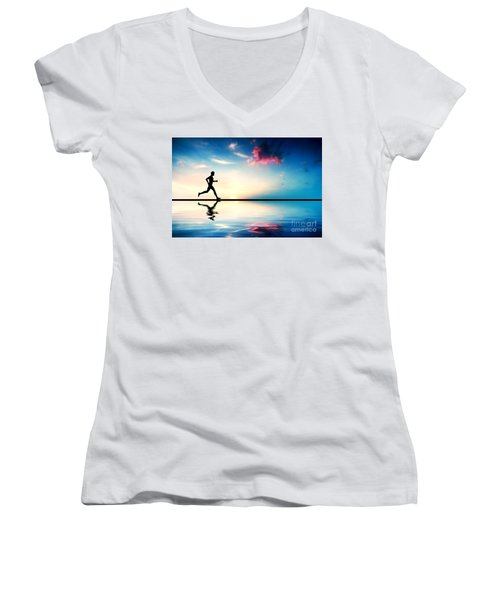 Silhouette Of Man Running At Sunset Women's V-Neck (Athletic Fit)