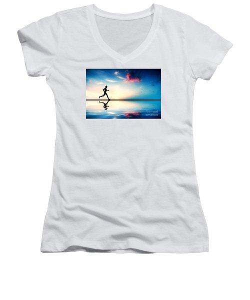 Silhouette Of Man Running At Sunset Women's V-Neck T-Shirt