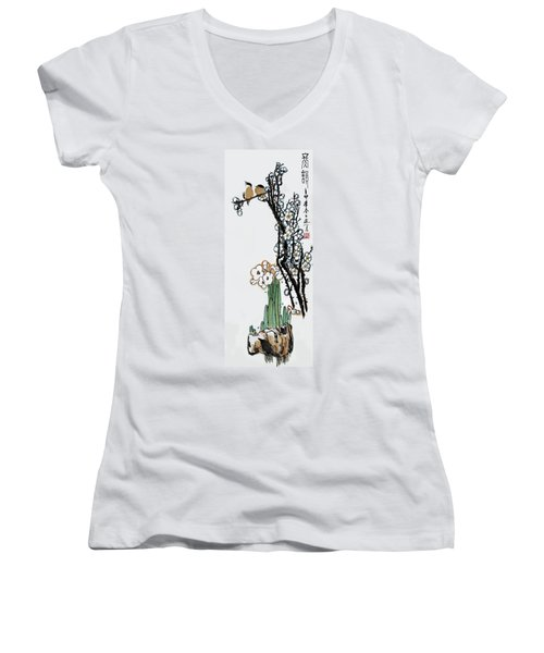Women's V-Neck T-Shirt (Junior Cut) featuring the photograph Spring Melody by Yufeng Wang