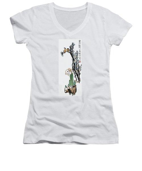 Spring Melody Women's V-Neck T-Shirt (Junior Cut) by Yufeng Wang