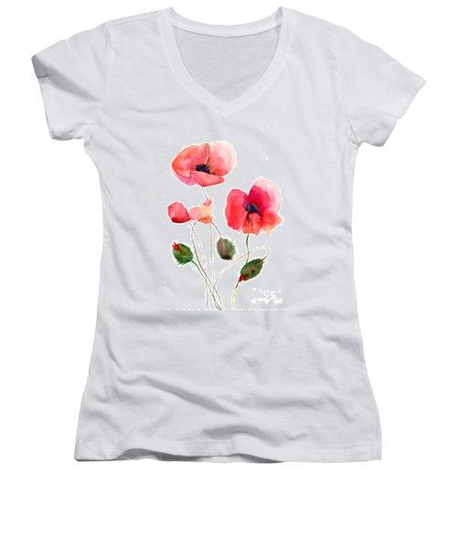Stylized Poppy Flowers Illustration Women's V-Neck T-Shirt