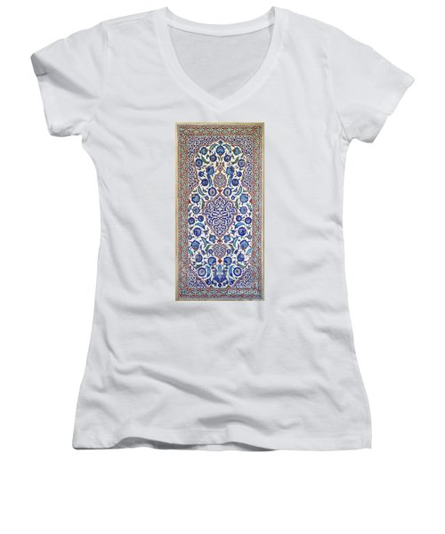 Sultan Selim II Tomb 16th Century Hand Painted Wall Tiles Women's V-Neck T-Shirt (Junior Cut) by Ralph A  Ledergerber-Photography