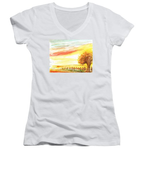 Women's V-Neck T-Shirt (Junior Cut) featuring the painting Sunset by Teresa White