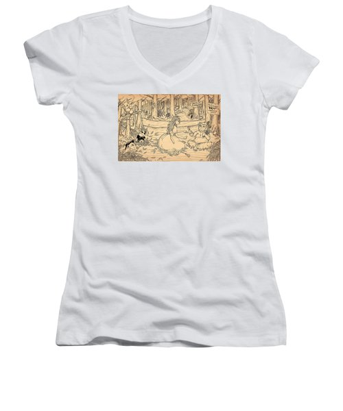 Women's V-Neck T-Shirt (Junior Cut) featuring the drawing Tammy And The Baby Hoargg by Reynold Jay