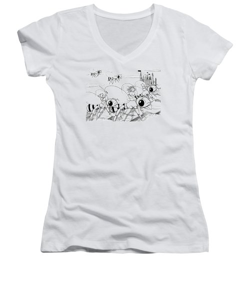 Women's V-Neck T-Shirt (Junior Cut) featuring the drawing Tammy In Polynesia by Reynold Jay