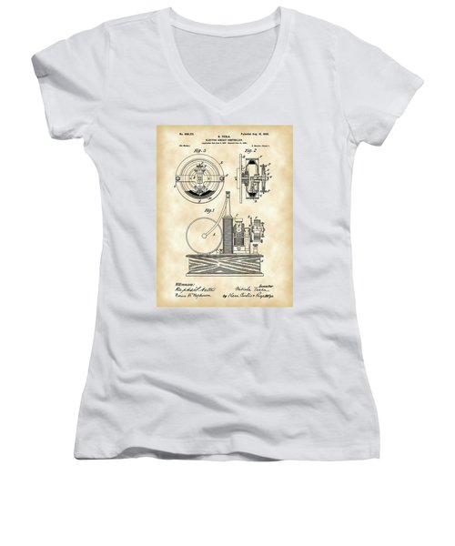 Tesla Electric Circuit Controller Patent 1897 - Vintage Women's V-Neck T-Shirt (Junior Cut) by Stephen Younts