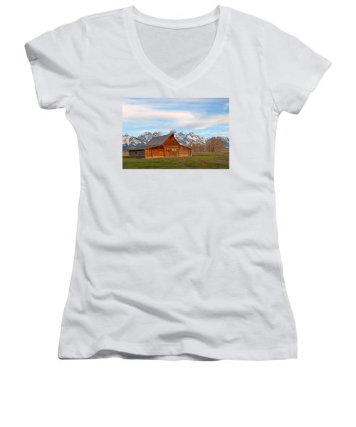 Teton Barn Women's V-Neck T-Shirt (Junior Cut) by Steve Stuller