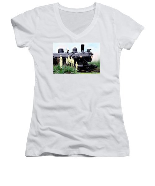 The Black Steam Engine Women's V-Neck (Athletic Fit)