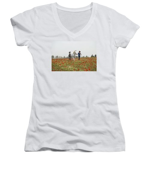 Three At The Poppies' Field... 3 Women's V-Neck