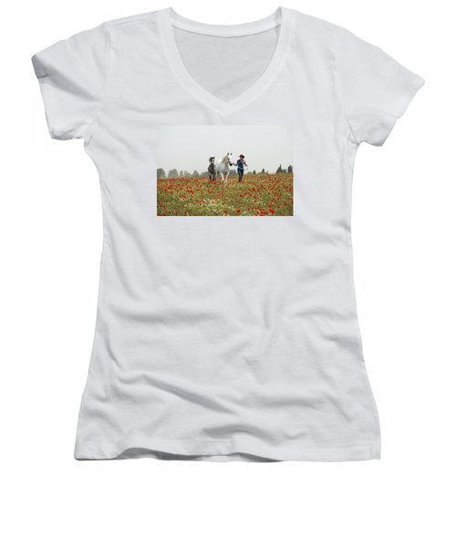Three At The Poppies' Field... 3 Women's V-Neck (Athletic Fit)