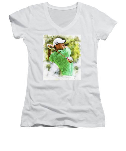 Tiger Woods Hits A Drive  Women's V-Neck T-Shirt
