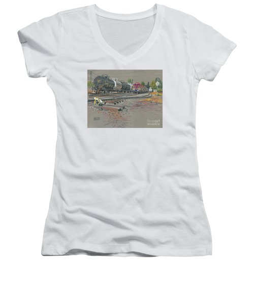 Women's V-Neck T-Shirt (Junior Cut) featuring the drawing Train's Coming by Donald Maier