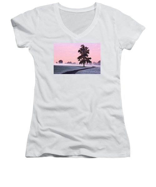 Tree At Dawn / Maynooth Women's V-Neck (Athletic Fit)