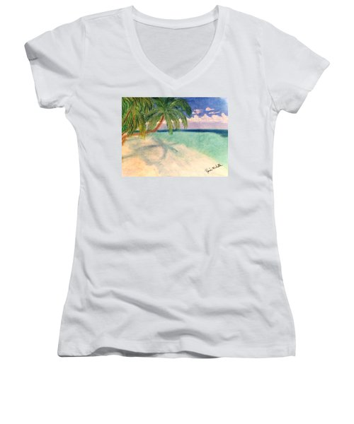 Tropical Shores Women's V-Neck (Athletic Fit)