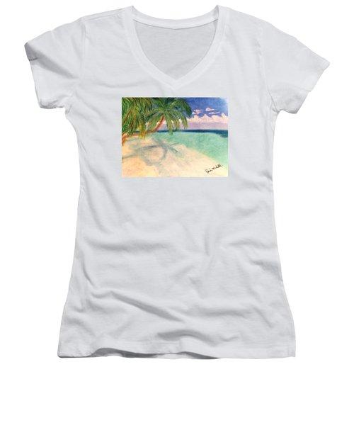 Tropical Shores Women's V-Neck T-Shirt (Junior Cut) by Renee Michelle Wenker