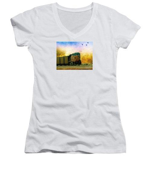 Union Pacific Coal Train Women's V-Neck T-Shirt
