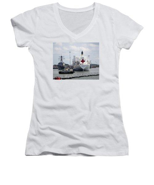 Us Naval Hospital Ship Comfort Women's V-Neck (Athletic Fit)