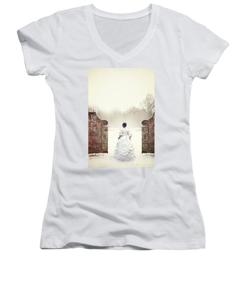 Victorian Woman In Snow Women's V-Neck T-Shirt (Junior Cut) by Lee Avison