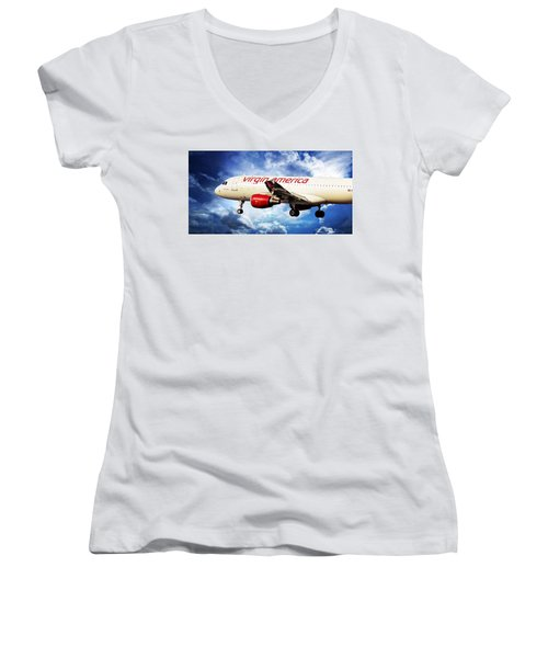 Aaron Berg Women's V-Neck T-Shirt (Junior Cut) featuring the photograph Virgin America Mach Daddy by Aaron Berg