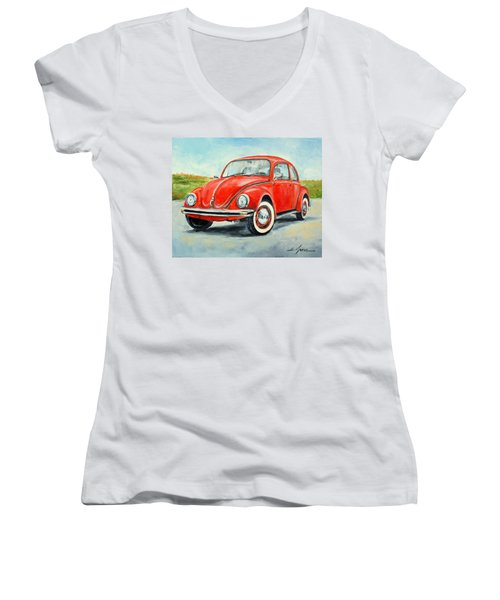 Vw Beetle Women's V-Neck (Athletic Fit)