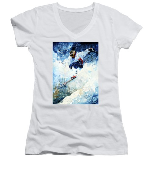 Women's V-Neck (Athletic Fit) featuring the painting White Magic by Hanne Lore Koehler