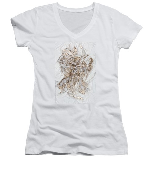 White With Gold Women's V-Neck (Athletic Fit)