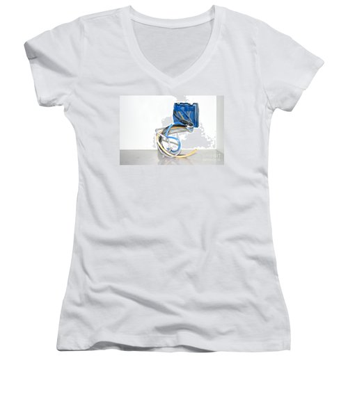 Women's V-Neck T-Shirt (Junior Cut) featuring the photograph Wire Box by Henrik Lehnerer