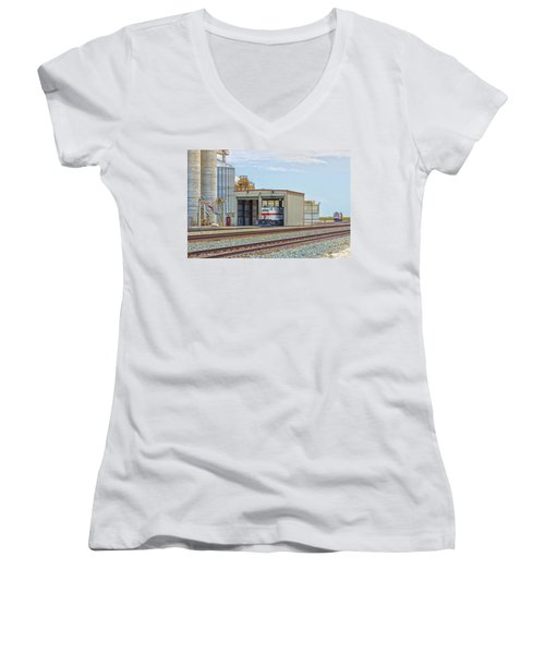 Foster Farms Locomotives Women's V-Neck T-Shirt (Junior Cut) by Jim Thompson