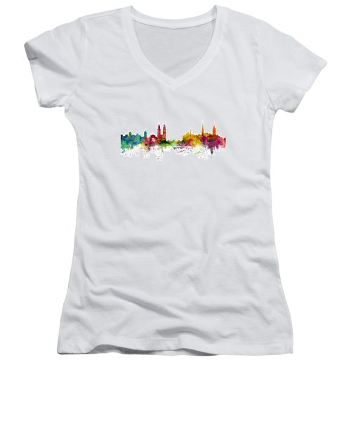 Zurich Switzerland Skyline Women's V-Neck T-Shirt