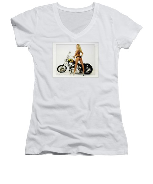 Models And Motorcycles Women's V-Neck T-Shirt