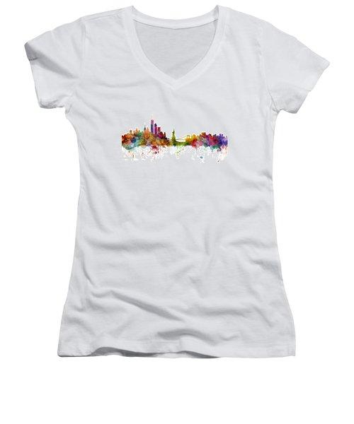 New York Skyline Women's V-Neck T-Shirt (Junior Cut) by Michael Tompsett