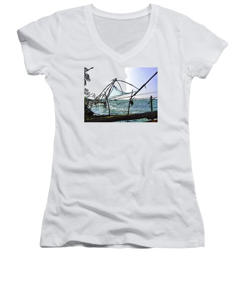 Fishing Nets On The Sea Coast In Alleppey Women's V-Neck T-Shirt (Junior Cut)