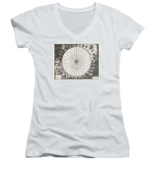 1650 Jansson Wind Rose Anemographic Chart Or Map Of The Winds Women's V-Neck T-Shirt (Junior Cut) by Paul Fearn