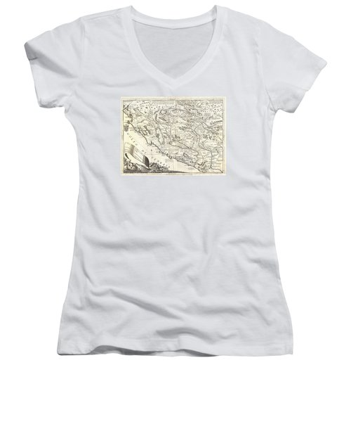 1690 Coronelli Map Of Montenegro Women's V-Neck T-Shirt (Junior Cut) by Paul Fearn