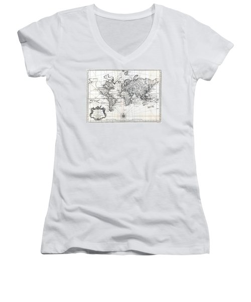 1748 Antique World Map Versuch Von Einer Kurzgefassten Karte  Women's V-Neck T-Shirt (Junior Cut) by Karon Melillo DeVega