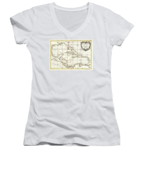 1762 Zannoni Map Of Central America And The West Indies Women's V-Neck T-Shirt (Junior Cut) by Paul Fearn