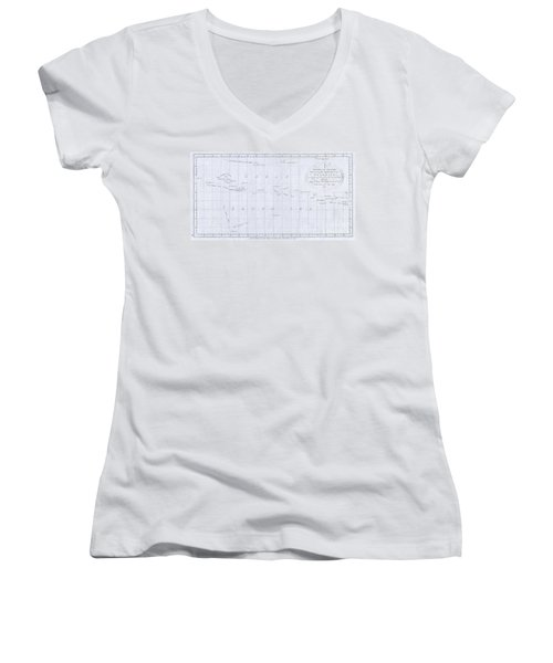 1780 Cook  Hogg Map Of Tahiti  Women's V-Neck (Athletic Fit)