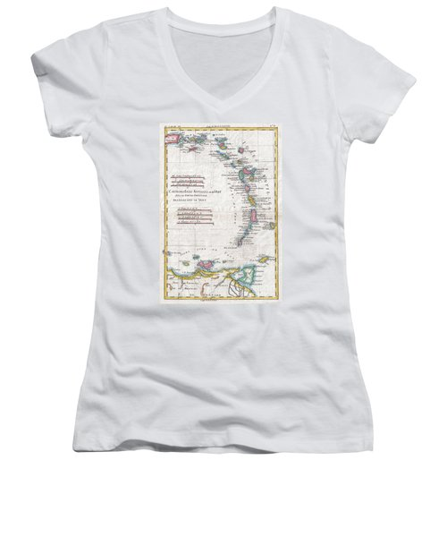 1780 Raynal And Bonne Map Of Antilles Islands Women's V-Neck T-Shirt (Junior Cut) by Paul Fearn