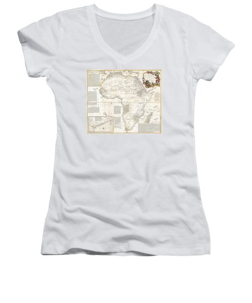 1787 Boulton  Sayer Wall Map Of Africa Women's V-Neck T-Shirt (Junior Cut) by Paul Fearn